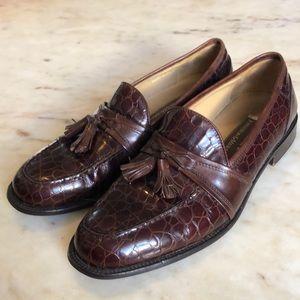 JOHNSTON & MURPHY Crocodile Leather Tassle Loafers